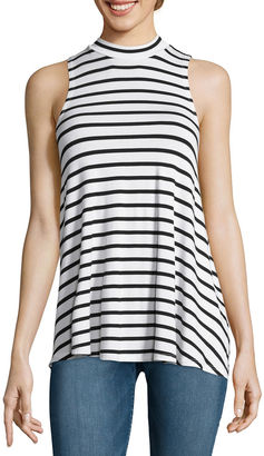 Fire Sleeveless Marled Hatchi Striped Mockneck Top - Juniors $34 thestylecure.com