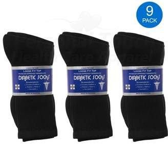 Personal Touch Health Care Apparel Diabetic Socks Men's & Women Crew Style Physicians Approved Socks, 9 Pairs, (Black, 9-11)