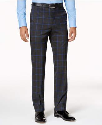 Sean John Men's Slim-Fit Charcoal Windowpane Pants