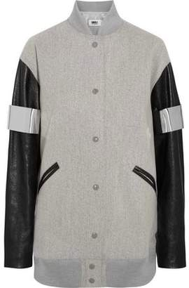 Maison Margiela Paneled Wool-Blend Bomber Jacket