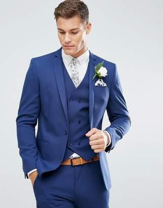 Blue Cross ASOS DESIGN ASOS Wedding Skinny Suit Jacket in Hatch with Printed Lining