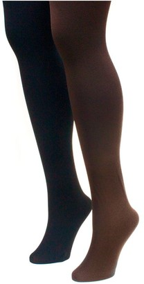 Muk Luks Women's Fleece-Lined Tights 2-Pair Pack