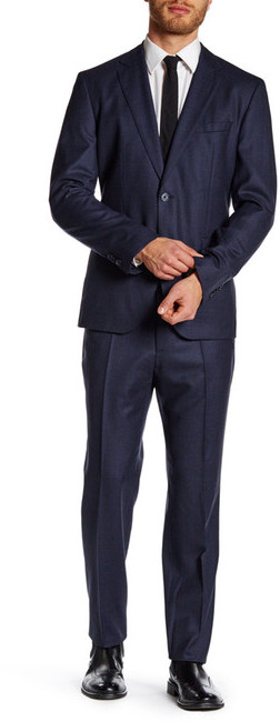 Hugo BossHUGO BOSS Solid Blue Two Button Notch Lapel Trim Fit Wool Suit