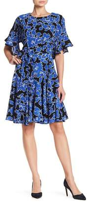Taylor Floral Print Dress W/ Detachable Tie Belt