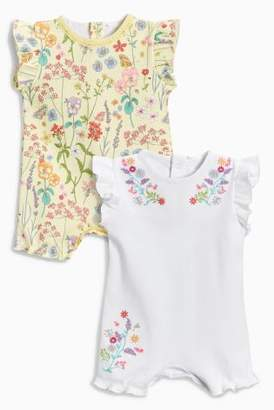 Next Girls Yellow Floral Print Rompers Two Pack (0mths-2yrs)