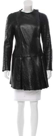 Miu Miu Miu Miu Metallic-Accented Shearling Coat