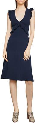 BCBGMAXAZRIA Ribbed Ruffle Sleeveless Sweater Dress