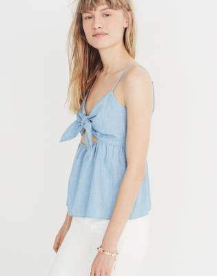 Madewell Chambray Tie-Front Keyhole Cami Top
