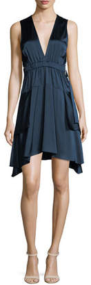 A.L.C. Nahia Deep-V Cutout-Waist Sleeveless Satin Dress