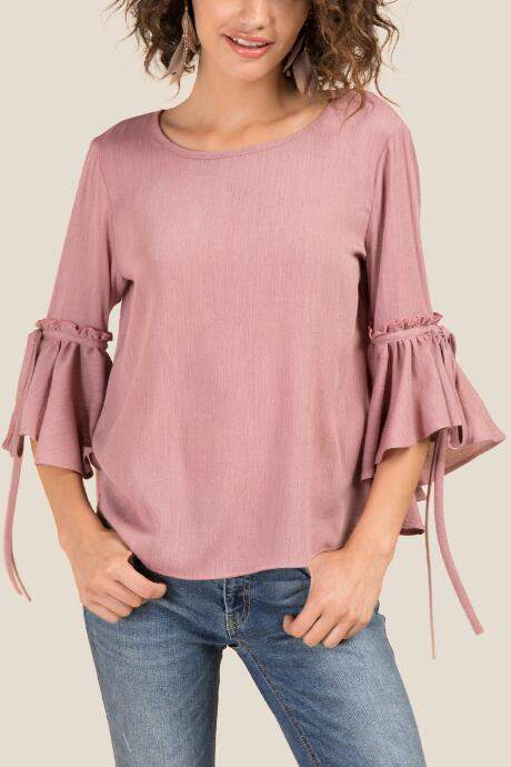 Isabella Extreme Bell Sleeve Top - Rose