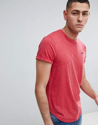 Hollister Curved Hem Crew Neck T-Shirt Seagull Logo in Pink Marl