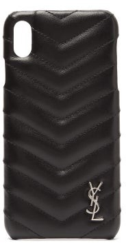Saint Laurent Lou Quilted Leather Iphone Xs Max Phone Case - Womens - Black