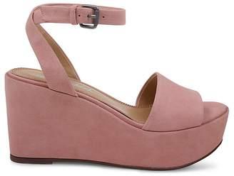 Splendid Women's Felix Suede Platform Wedge Ankle Strap Sandals