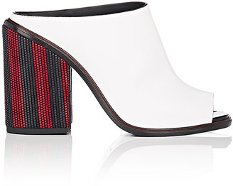 Women's Striped-Heel Leather Mules