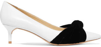 Alexandre Birman Nola Velvet-trimmed Leather Pumps - White