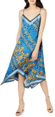 INC International Concepts Petite Baroque Print Handkerchief-Hem Dress