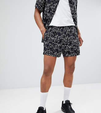 Reclaimed Vintage Inspired Shorts With Face Print In Black