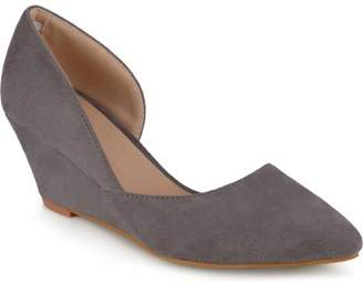 Co Brinley Womens Pointed Toe Faux Suede Classic D'orsay Wedges