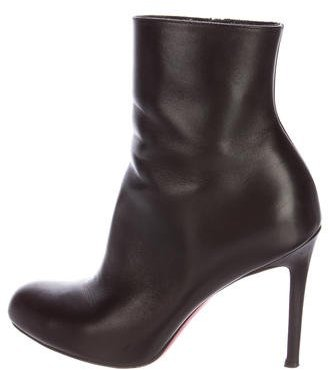 Christian Louboutin Christian Louboutin Leather Round-Toe Ankle Boots