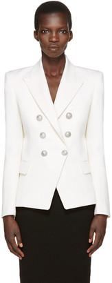 Balmain Ivory Classic Six-Button Blazer $2,230 thestylecure.com