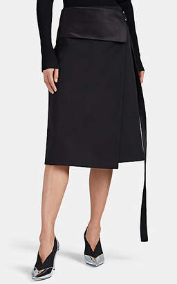 dea9c0c0b Helmut Lang Women's Satin-Trimmed Wool Tuxedo Wrap Skirt - Black