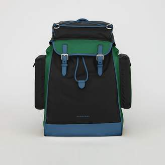Burberry Tri-tone Nylon and Leather Backpack, Black