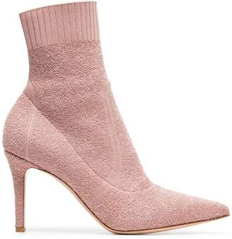 Gianvito Rossi pink fiona 85 bouclé stretch fabric ankle booties