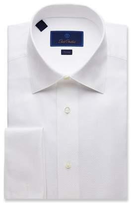 David Donahue Men's Trim-Fit Box-Pattern Formal Dress Shirt