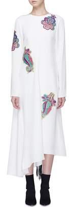 Tibi Paisley appliqué fringe open back silk dress
