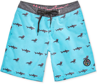 """Maui and Sons Men's Sharks & Crows Graphic-Print 20"""" Swim Trunks $49.50 thestylecure.com"""