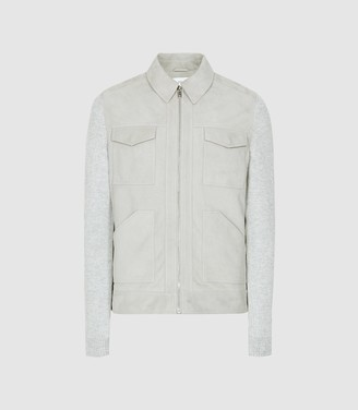 Reiss Meadow - Suede Four Pocket Jacket With Knitted Sleeves in Soft Grey