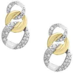 Effy Duo Diamond and 14K White and Yellow Gold Earrings