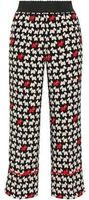 Moschino Cropped Printed Silk Crepe De Chine Straight-leg Pants