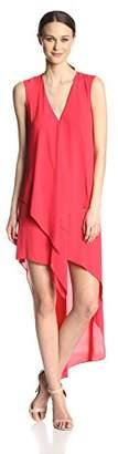 BCBGMAXAZRIA Women's Tara Tiered Asymmetrical-Hem Dress