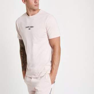 River Island Pink 'Carpe Diem' slim fit T-shirt