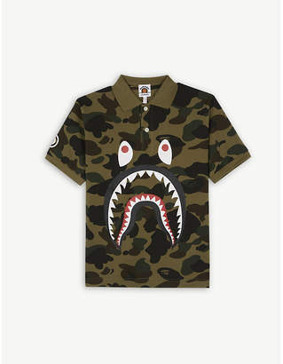 A Bathing Ape Shark camouflage cotton polo shirt 4-8 years