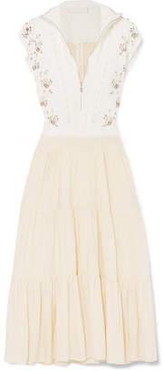 Chloé Embellished Broderie Anglaise Linen And Cady Midi Dress - White