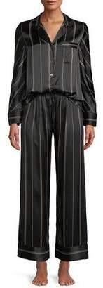 Neiman Marcus Pinstripe Two-Piece Pinstripe Silk Pajama Set