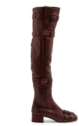 Prada Buckle-embellished over-the-knee leather boots