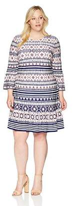 Eliza J Women's Plus Size Bell Sleeve Shift with Flounce Hem