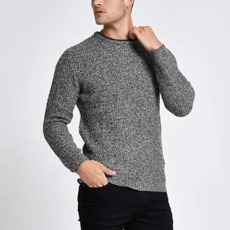 River Island Mens Grey knit long sleeve slim fit jumper