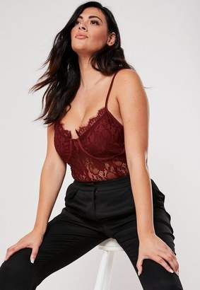 Missguided Plus Size Burgundy Lace Cup Detail Bodysuit