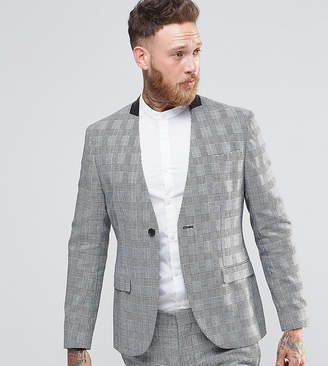 Religion Skinny Collarless Suit Jacket In Prince of Wales Check