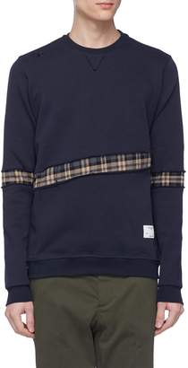 The Editor Tartan plaid herringbone panel sweatshirt