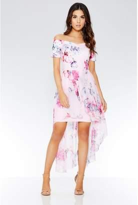 Quiz Pink Floral Bardot Dip Hem Dress
