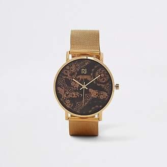 River Island Gold tone cheetah mesh strap watch
