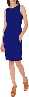 Akris Round-Neck Sleeveless Crepe Wool Sheath Dress w/ Pockets