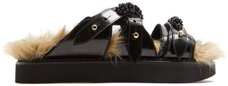 Simone Rocha Faux-fur lined leather slides