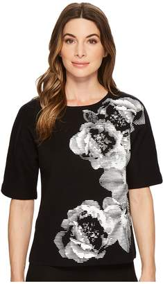 Calvin Klein Floral Graphic Short Sleeve Sweater Women's Sweater