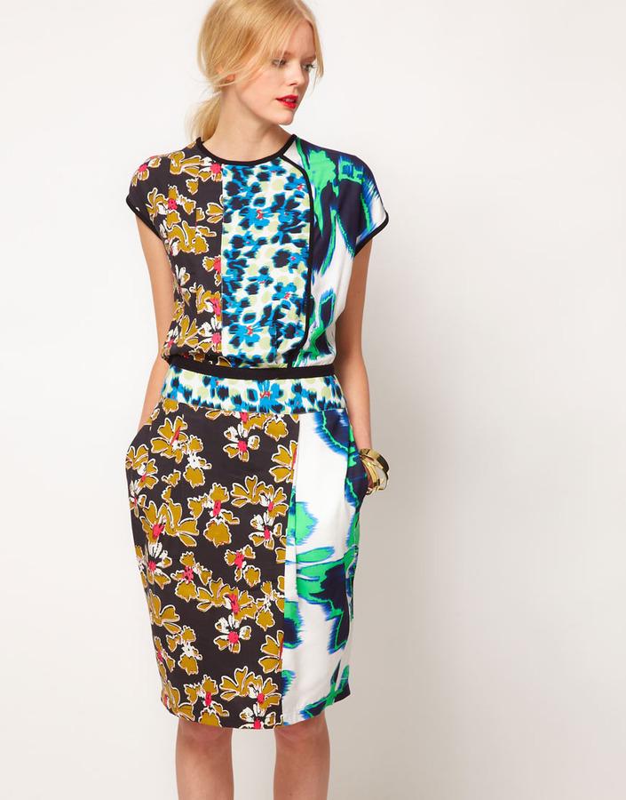 Asos Pencil Dress In Mixed Print